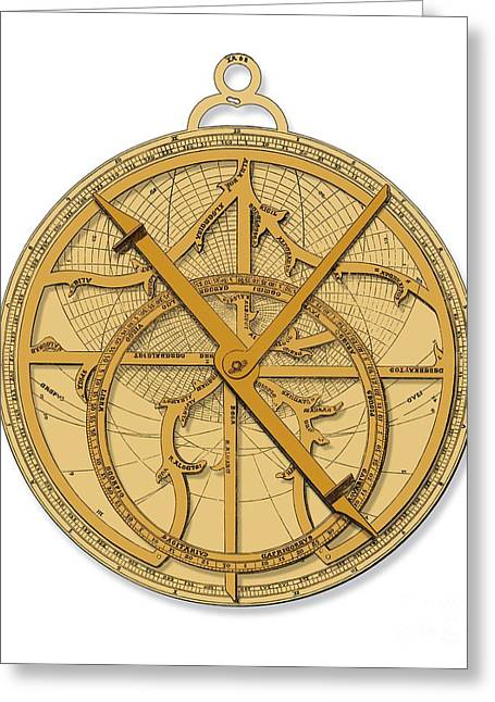 Surveying Greeting Cards - Astrolabe, Historical Artwork Greeting Card by Detlev van Ravenswaay