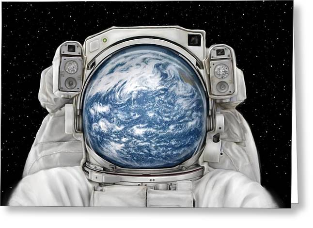 Iss Greeting Cards - Astronaut Earth Greeting Card by Tharsis  Artworks