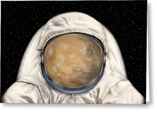 Sandstorm Greeting Cards - Astronaut Mars Greeting Card by Tharsis  Artworks