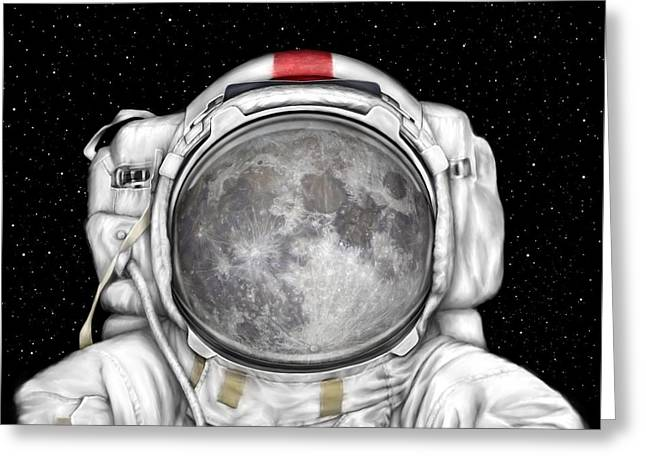 Sea Of Tranquility Greeting Cards - Astronaut Moon Greeting Card by Tharsis  Artworks