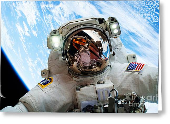 Astronaut Selfie During Spacewalk By Nasa Greeting Card by Celestial Images
