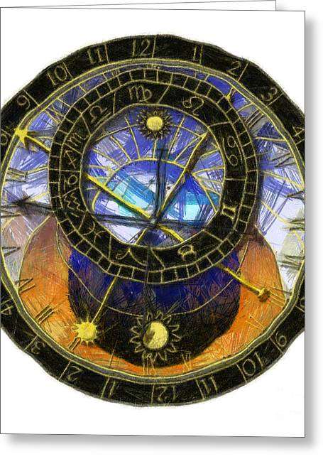 Analogue Greeting Cards - Astronomical Clock Greeting Card by Michal Boubin