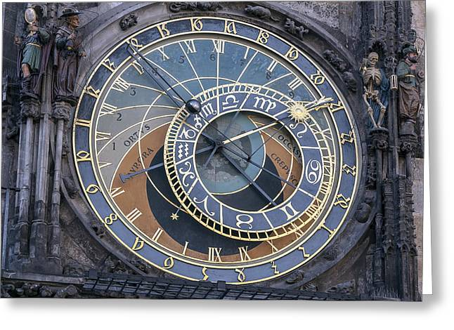 Astronomical Clock Greeting Cards - Astronomical clock of Prague. Greeting Card by Fernando Barozza