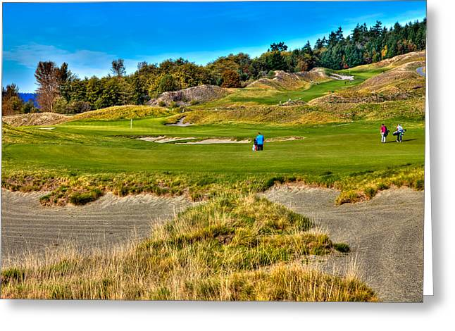 Chambers Bay Golf Course Greeting Cards - #2 at Chambers Bay Golf Course Greeting Card by David Patterson