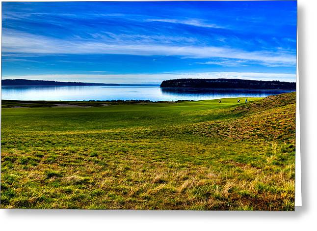 Chambers Bay Golf Course Greeting Cards - #2 at Chambers Bay Golf Course - Location of the 2015 U.S. Open Tournament Greeting Card by David Patterson