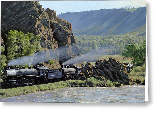 Yellowstone River Greeting Cards - At Point of Rocks-Bound for Yellowstone Greeting Card by Paul Krapf
