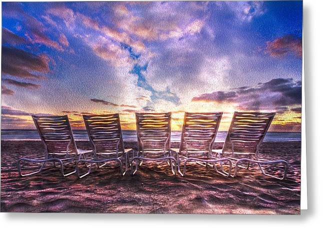 Lounge Photographs Greeting Cards - At The Beach Greeting Card by Debra and Dave Vanderlaan