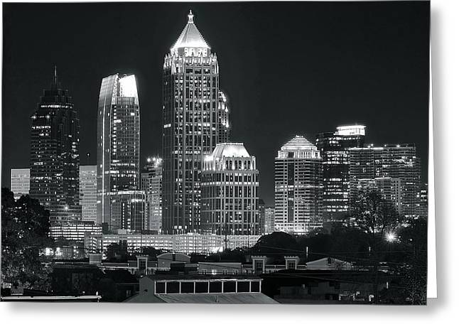 Hank Aaron Greeting Cards - Atlanta Black and White Night Greeting Card by Frozen in Time Fine Art Photography