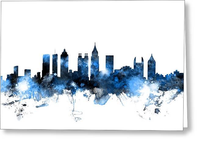 Atlanta Georgia Skyline Greeting Card by Michael Tompsett