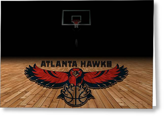 Recently Sold -  - Dunk Greeting Cards - Atlanta Hawks Greeting Card by Joe Hamilton