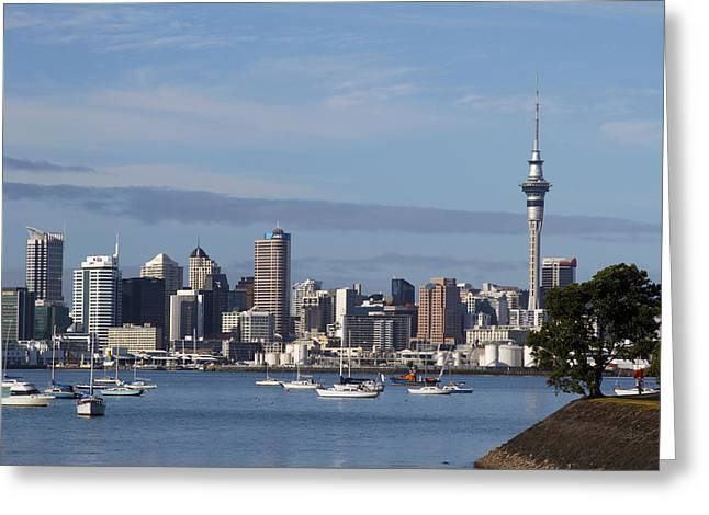 Oceania Greeting Cards - Auckland Greeting Card by Les Cunliffe