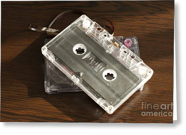 Casette Greeting Cards - Audio tape cassettes with subtracted out tape.  Greeting Card by Deyan Georgiev