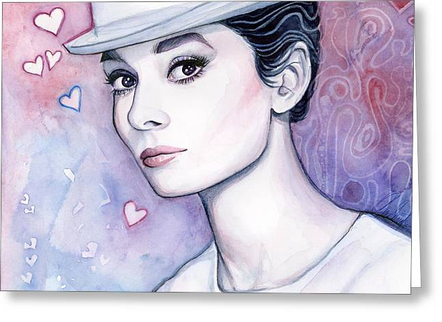 Celebrity Mixed Media Greeting Cards - Audrey Hepburn Fashion Watercolor Greeting Card by Olga Shvartsur