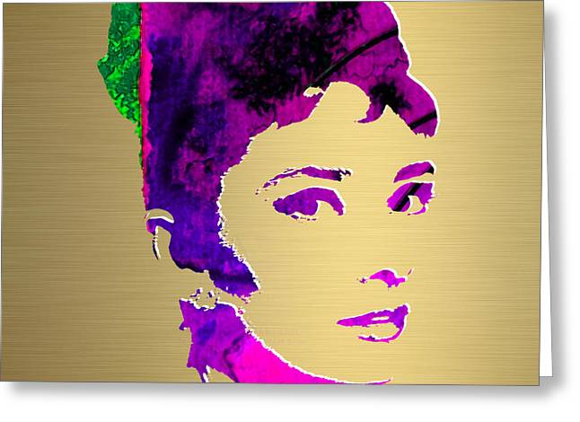 Audrey Hepburn Greeting Cards - Audrey Hepburn Gold Series Greeting Card by Marvin Blaine
