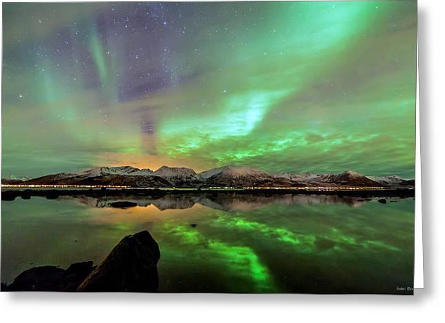 Aurora And Sea Greeting Card by Benny Hoeynes