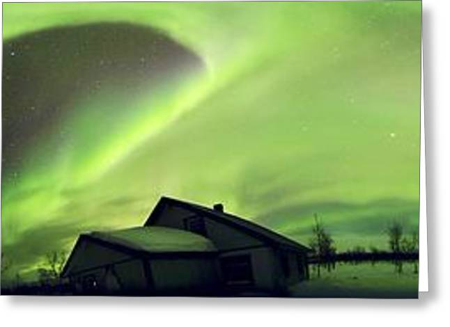 Snowy Night Night Greeting Cards - Aurora Borealis, Lapland, Sweden Greeting Card by Science Photo Library