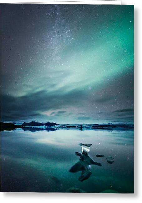 Aurora Lake Greeting Cards - Aurora borealis Northern lights over glacial lagoon in Iceland Greeting Card by Matteo Colombo