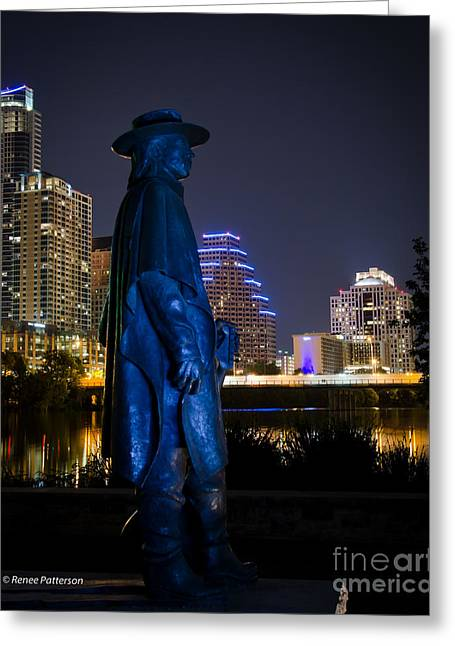 Austin At Night Greeting Cards - Austin at Night Greeting Card by Renee Patterson