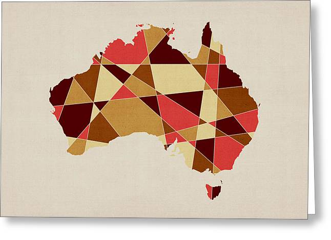 Australia Digital Art Greeting Cards - Australia Geometric Retro Map Greeting Card by Michael Tompsett