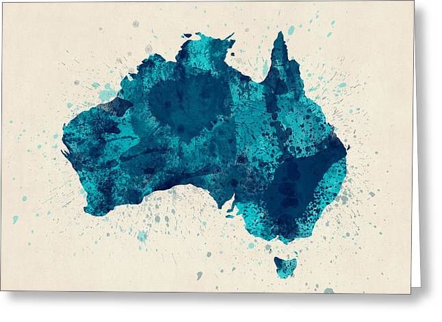 Cartography Digital Art Greeting Cards - Australia Paint Splashes Map Greeting Card by Michael Tompsett