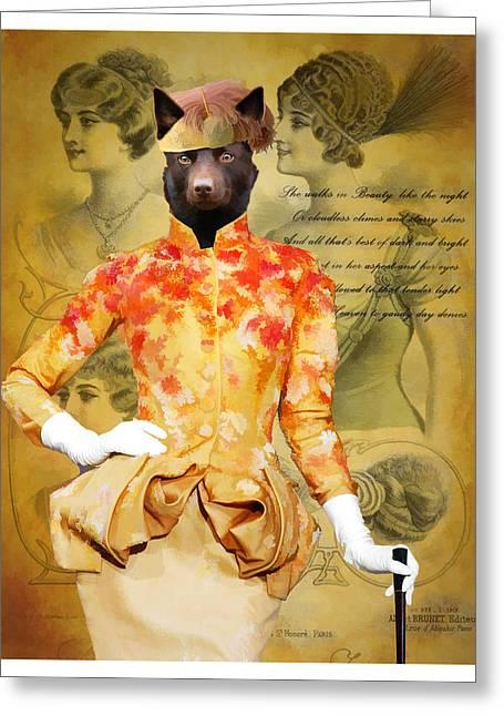 Kelpie Greeting Cards - Australian Kelpie Art Canvas Print Greeting Card by Sandra Sij
