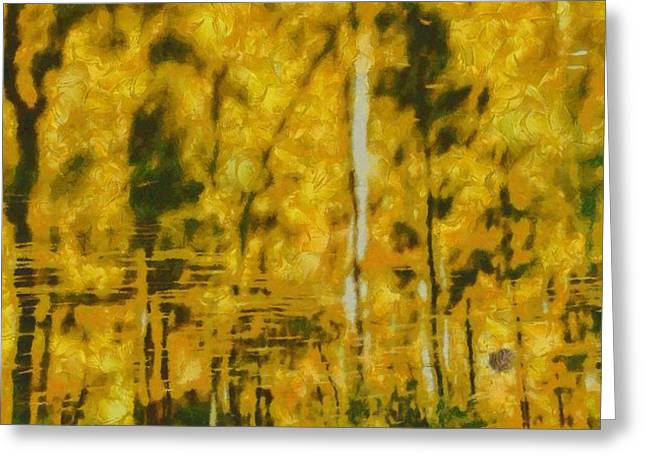 Calm Waters Mixed Media Greeting Cards - Autumn Abstract Greeting Card by Dan Sproul