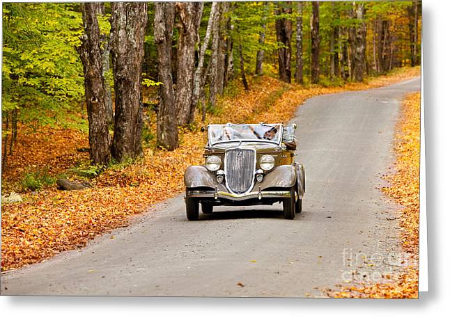 Touring Car Greeting Cards - Autumn Drive Greeting Card by Brian Jannsen