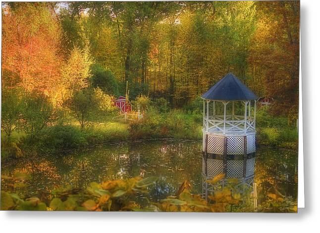 New England Autumn Scenes Greeting Cards - Autumn Gazebo Greeting Card by Joann Vitali