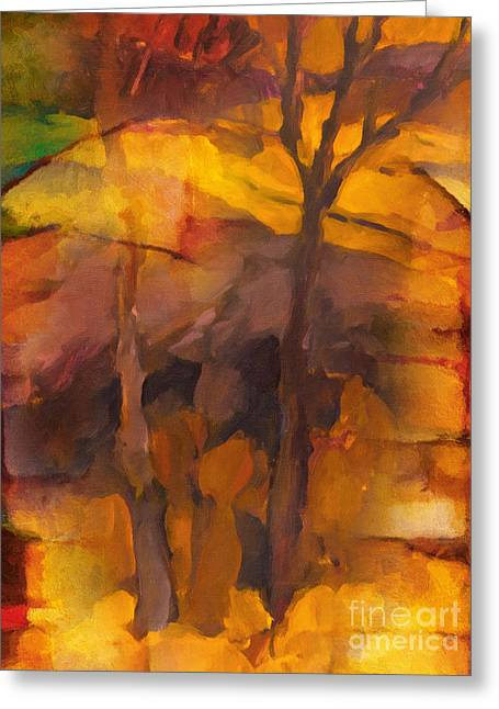 Nature Abstract Paintings Greeting Cards - Autumn Gold Greeting Card by Lutz Baar