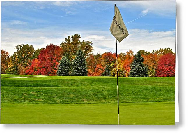Nicklaus Photographs Greeting Cards - Autumn Golf Greeting Card by Frozen in Time Fine Art Photography