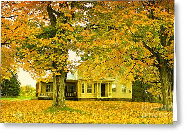 Maple Syrup Greeting Cards - Autumn in Franklin Greeting Card by Deborah Benoit