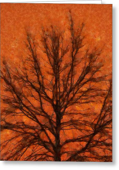 Web Paintings Greeting Cards - Autumn Sunset Greeting Card by Dan Sproul
