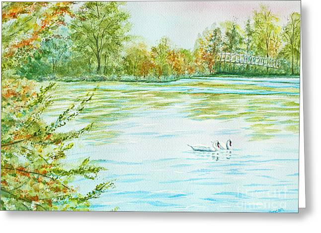 Swans Greeting Cards - Autumn Swans Greeting Card by Kathryn Duncan