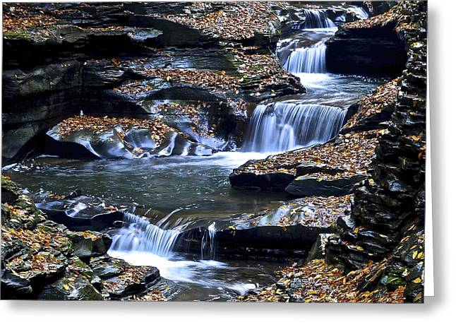 Water Falling Down Rocks Greeting Cards - Autumn Waterfall Greeting Card by Frozen in Time Fine Art Photography