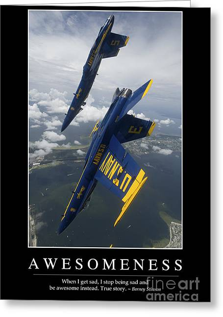 Awesomeness Inspirational Quote Greeting Card by Stocktrek Images