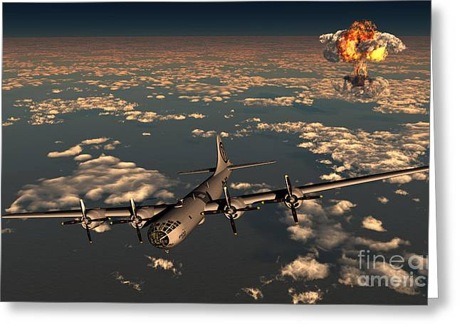 Enola Gay Greeting Cards - B-29 Superfortress Flying Away Greeting Card by Mark Stevenson