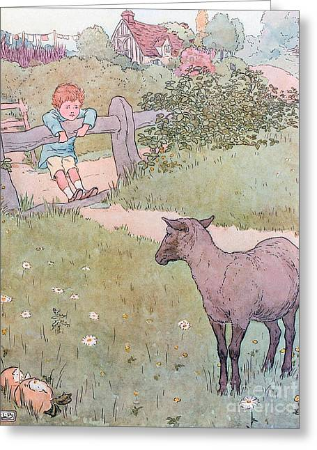 Fence Drawings Greeting Cards - Baa Baa Black Sheep Greeting Card by Leonard Leslie Brooke