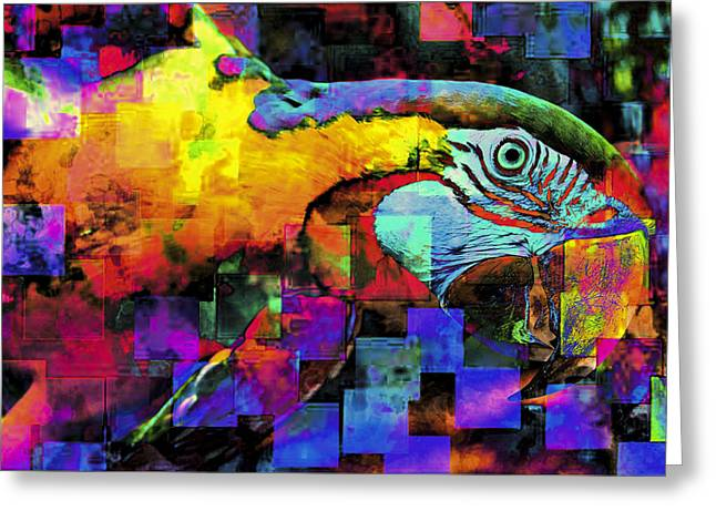 Macaw Art Greeting Cards - Babaloo Blue Greeting Card by Wendy Mogul