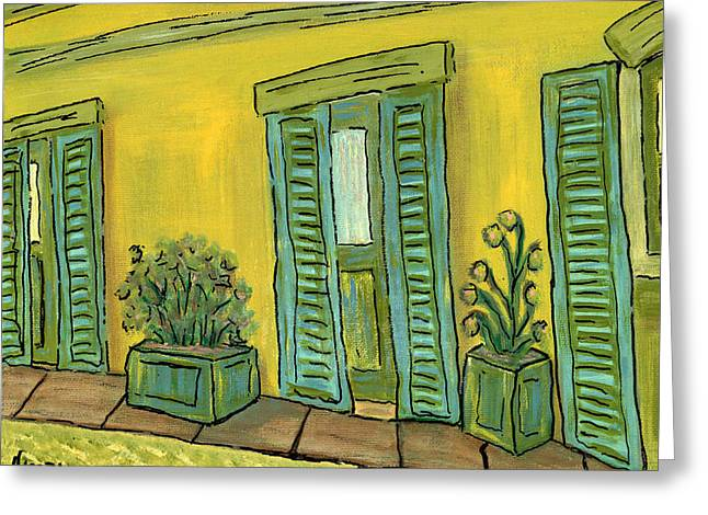 Prague Paintings Greeting Cards - Back Patio  Greeting Card by Oscar Penalber