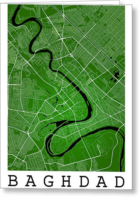 Baghdad Greeting Cards - Baghdad Street Map - Baghdad Iraq Road Map Art on Color Greeting Card by Jurq Studio