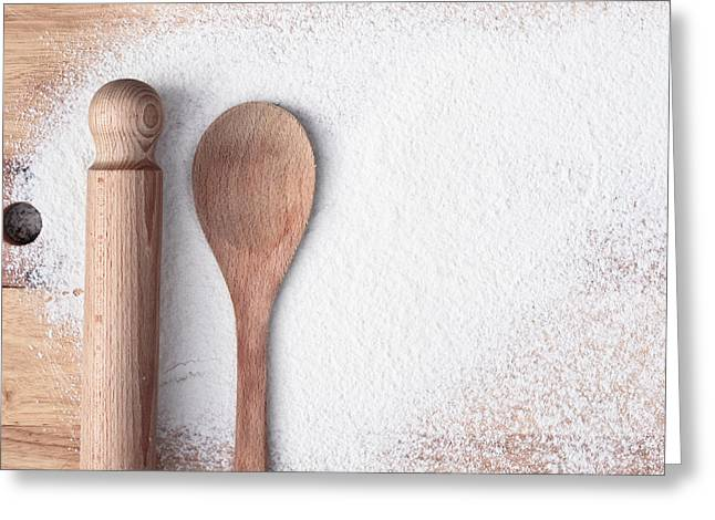 Flour Greeting Cards - Baking  Greeting Card by Tom Gowanlock