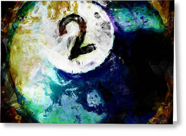 Billiards Digital Greeting Cards - 2 Ball Billiards Abstract Greeting Card by David G Paul