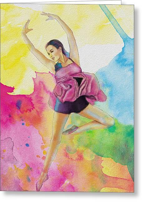 Palette Knife Art Greeting Cards - Ballet Dancer Greeting Card by Corporate Art Task Force