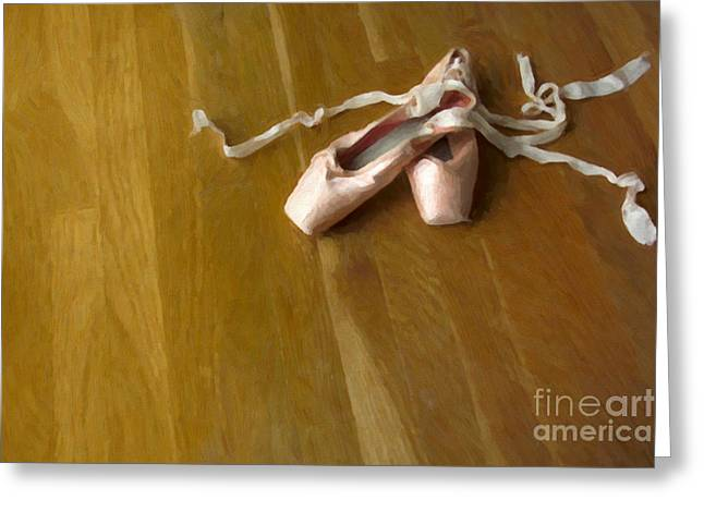 Dance Studio Greeting Cards - Ballet Slippers Greeting Card by Diane Diederich