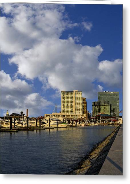 America Greeting Cards - Baltimore Inner Harbor Skyline Marina Greeting Card by Susan Candelario