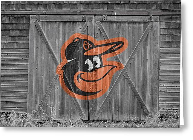 Glove Greeting Cards - Baltimore Orioles Greeting Card by Joe Hamilton