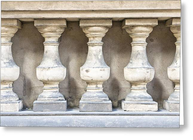 Arch Greeting Cards - Balustrade wall Greeting Card by Tom Gowanlock