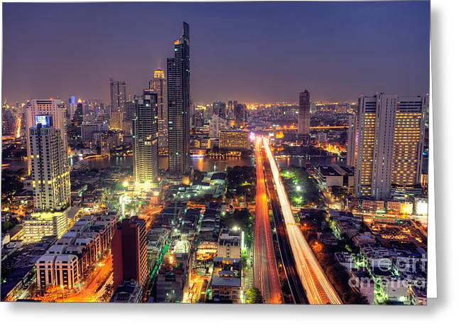 Vertigo Greeting Cards - Bangkok City night skyline Greeting Card by Fototrav Print