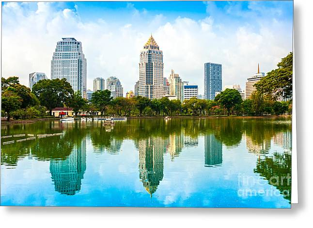 Office Space Greeting Cards - Bangkok Skyline - Thailand Greeting Card by Luciano Mortula