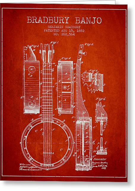 Banjo Greeting Cards - Banjo patent Drawing from 1882 - Red Greeting Card by Aged Pixel